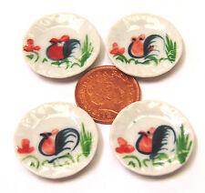 1:12 scala 4 galletto arrostito PIASTRE DOLLS HOUSE miniatura in ceramica cucina Accessorio C36
