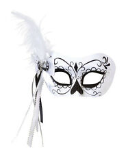 Gorgeous Black & White Day Of The Dead Eye Mask Halloween Fancy Dress Prop