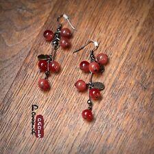 Boucles d`Oreilles Grape Cerise Perle Bordeaux Rouge Retro Original Cadeau EE 4