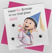 Personalised Handmade Despicable Me Agnes Birthday Card - Daughter, Sister, etc