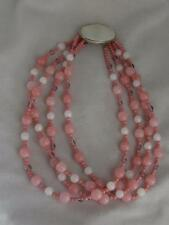 GORGEOUS MULTI STRAND PINK & WHITE ROUND GLASS BEAD NECKLACE W/ FAUX MOP CLASP