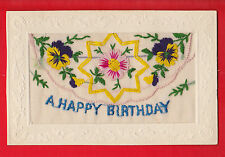 WW1 Embroidered silk postcard, A happy birthday, flowers, greetings