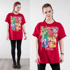 WOMENS RETRO DISNEY WORLD T-SHIRT OVERSIZE BRIGHT RED MICKEY MOUSE 2011 GOOFY 18