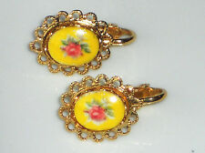 #1171T Vintage Earrings Limoges Pink Floral Gold Plated Yellow Clip on Rose NOS