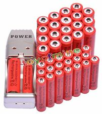 20+20 X AA AAA 1800mAh 3000mAh Rechargeable Battery 1.2V Red + USB Charger