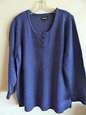 Avenue Pull-over Purple Sweater 100% Acrylic  MW  3 Buttons @ Neck  18/20