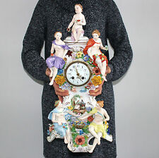 MEISSEN SITZENDORF Mantel Clock 23 Inch! Antique Figurine Porcelain China German