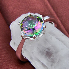 European Rainbow Fire Mystical Topaz Silver Wedding Rings 17 Ct Sz.6 7 8 9 10