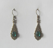 SMALL PERSIAN PATTERN DARK GOLD PLATED EARRINGS GREEN GLASS STONE