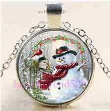 Christmas Snowman Cabochon Glass Tibet Silver Chain Pendant Necklace