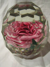 Antique Cut Glass Faceted Floral Paperweight