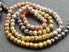 "HAND FACETED MULTI COLOUR COATED PYRITE RONDELLES, 3.5mm, 12.5"", 110 beads"