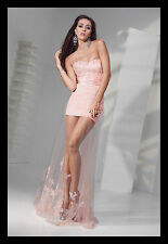 New ALYCE Paris 6697 Pink Lace Bridesmaid Pageant Cruise Maxi Evening Dress Sz 2