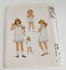 Vintage McCall 1940s Child's Slip & Panties Sewing Pattern Size 8