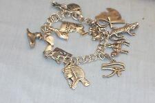 Vintage Egyptian Revival Sterling Silver Charm Bracelet 13 Different Charms