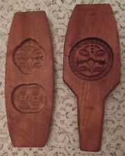 Pair of Wooden Butter Molds Flowers Designs Decoration and function