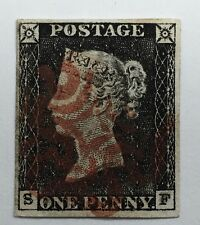 Great Britain 1840 1d Penny Black Red Maltese Cross Cancelation Plate Letter SF