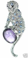 Solid 925 Sterling Silver Oval Amethyst  Monkey Pendant '