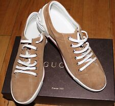 AUTHENTIC! $495 GUCCI LIGHT CAMEL SOFTY TEK SUEDE SNEAKERS SZ 37 EU/ 7 US
