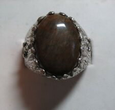 MENS 9.15CT PETRIFIED WOOD SAPPHIRE STUNNING STERLING HANDSOME RING