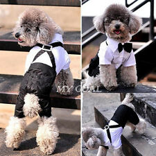 Dog Pet Puppy Clothes Tuxedo Shirt Suit Bow Tie Stylish Wedding Apparel Outfit