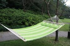 Double Cotton Fabric Hammock Sleeping Bed Swing Hang Pillow 2 Person Outdoor Bed