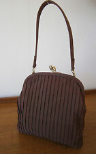 VINTAGE 1940'S/50's SMALL BBROWN PLEATED GROSGRAIN BAG HANDBAG GOODWOOD WEDDING