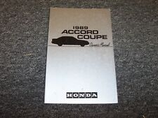 1989 Honda Accord Coupe Owner Owner's Manual User Guide Book DX LX SEi 2.0L