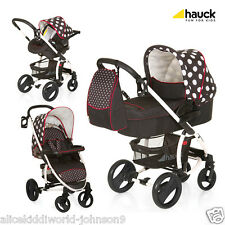 NEW Hauck Malibu XL All in One Travel System Pushchair Pram+Raincover Dots BLACK