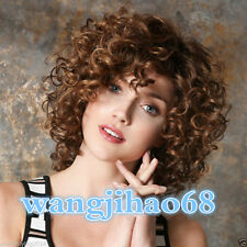 NEW sexy Ladies fashion Curly mixed Brown Natural Hair Women's Wigs + wig cap