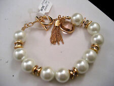 Charter Club Gold Charm Bangle Bracelet White Pearls Tassel Crystals Macy's New
