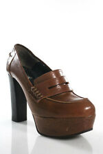 Marni Brown Leather Almond Toe High Heel Loafer Shoe Size 39.5 9.5