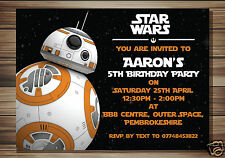 10 Personalised Birthday party invitations Star Wars BB8