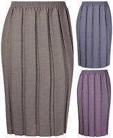 Womens Plus Size New Plain Pleated Ladies Stretch Elasticated Waist Long Skirt