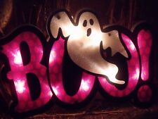 HALLOWEEN SHIMMERING LIGHTED BOO GHOST SIGN PURPLE WINDOW PARTY DECORATION PROP