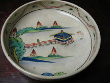 PORCELAIN  STONEWARE  BOWL  HAND PAINTED  w/ CHINESE  JUNK