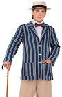1920s Blue Boater Jacket Victorian Edwardian Period Mens Fancy Dress Costume