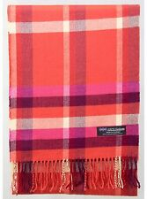100% Cashmere Scarf Coral Pink Cream Check Tartan Plaid SCOTLAND Wool Women R922