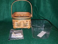 Longaberger 2000 Tree Trimming Let It Snow Basket w/Plastic Protector & Badge