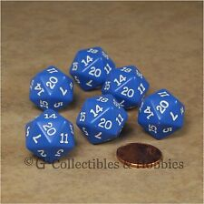 NEW Set of 6 Blue with White Numbers D20 Dice Twenty Sided RPG D&D Game D20s