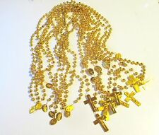 Wholesale Lot of 12 Golden Plastic Rosaries for Gifts, Religious Supplies