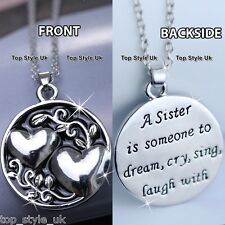 Black & Silver Round Necklace for Sister Best Friends Gifts for Her Birthday