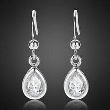Women Jewelry Sale Pear Cut White Gold Plated Dangle Earrings