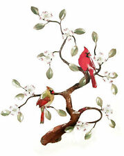 Cardinals in Tree Metal Bird Wall Art Sculpture #W465 by Bovano of Cheshire-New!