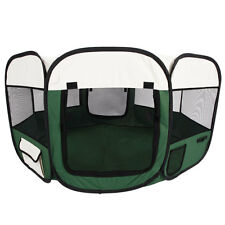 "45"" Kennel Pet Fence Puppy Soft Oxford Playpen Exercise Pen Folding Crate Green"