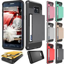2016 Black Card Pocket Shockproof Hybrid Slide Wallet Case For Samsung Galaxy S7