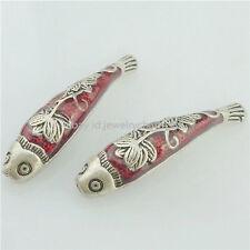 16247 2PCS Copper Red Enamel Cloisonne Flower 37.5mm Fish Spacer Beads