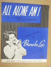 song sheet ALL ALONE AM I Brenda Lee 1959