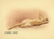 Fernando Amorsolo colored etching Nude Reclining