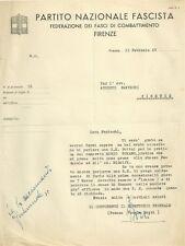 Lettera Autografa dell'Onorevole Franco Fedele Bozzo PNF Fasci di Combattimento